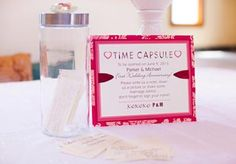 Time Capsule Guest Book. You have your guests write a note, words of wisdom, etc. and place in a container to be opened on your one year wedding anniversary!