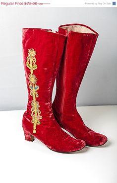 Labor Day Sale Bohemian Vintage 60's Red Velvet by FripperyFrocks, $60.00