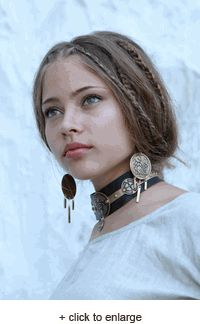 """Beautiful """"Archeress"""" necklace made with Brass accents and rivets, handmade Celtic style etching andnatural leather."""