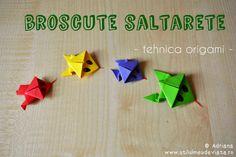 broscute saltarete, tehnica origami Origami, Logos, Double Deck Bed, Logo, Origami Paper, A Logo, Origami Art