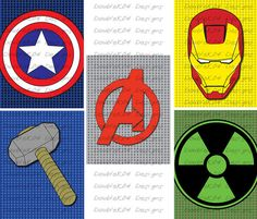 PRINTABLE Superhero Logos Marvels Avengers (Ironman, Hulk, Captain America, Thor)