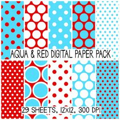 This 29 piece personal & commercial use digital paper set features the adorable Dr. Seuss aqua blue and red color scheme-- with the most adorable polka dots. :) Also, I added a fabric texture look for a little more ummmp :)   [ D E T A I L S ] --------------------------------------------------- * 12 x 12 files * Saved in JPG format at 300 dpi * Personal & Commercial Usage OK * Due to large file size this set will come in 5 zip files  [ R E Q U I R E M E N T S ] ----------------------...
