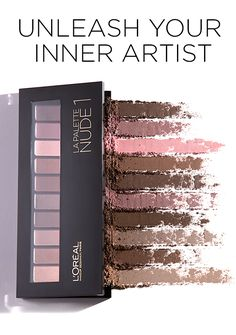 LA PALETTE NUDE   The Art of Nude unleashed.  10 high-impact shades in ivory, beige and caramel with three shadow finishes: satin, matte and lustrous sheen.   The dual tip brush has a foam side for application and a bristle side for blending and layering.   With this palette, you become the artist and the art.