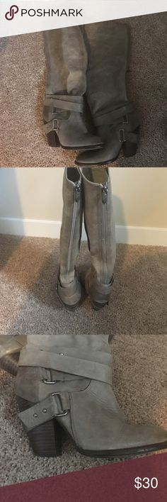 Fergie Leather Tall Heeled Boots Grey leather, super cute tall boots with back zipper. Great Shape, not worn often. Fergie Shoes Heeled Boots