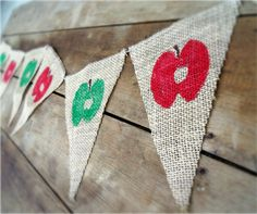 Teacher Gift Burlap Banner Apples / Fall Decorations / Back to School / Photography Prop. $20.00, via Etsy.