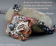 Black pearl necklace. Organic jewelry. by nataliasjewellery