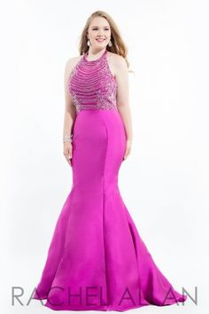 Mermaid gown with halter neckline and beaded bodice. Order today by calling Everything for Pageants at 1-815-782-8877 and ask for our current promotions.