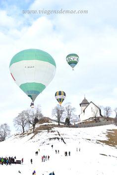 Festival Internacional de Balões em Chatêau D'Oex, na Suíça. Voos de balão. Voar de balão nos alpes suíços. Passeio de inverno na Suíça. Festival Internacional, Engelberg, Zurich, Geneva, Switzerland, Travel, Inspiration, Inspire, Bucket List Travel