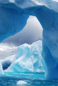 Iceberg arches on the Antarctic Coast
