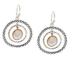 Michael Dawkins Sterling 14k Plated Coin Pearl Circle Earrings