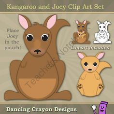 Kangaroo And Joey Clip Art Set From Dancing Crayon Designs On TeachersNotebook 6 Pages