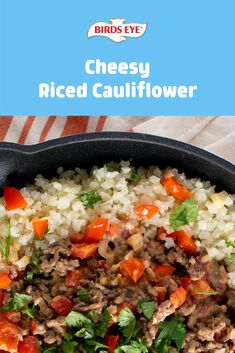 This Bird's Eye Riced Cauliflower recipe will have you cheesin' from ear to ear! Not only is it delicious, but it only takes 20 minutes to make! Tap for the recipe! Recipes Using Ground Beef, Beef Recipes, Vegetarian Recipes, Cooking Recipes, Healthy Meal Prep, Easy Healthy Recipes, Healthy Eating, Side Dish Recipes, Bon Appetit