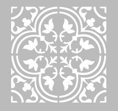 Ce pochoir adhésif repositionnable, de fabrication artisanale française dans une matière PVC grise souple, résistante et lavable, résiste à de multiples utilisations, s'adapte à la plupart des Stencil Patterns, Stencil Designs, Tile Patterns, Stencils, Stencil Art, Painting Tile Floors, Stencil Printing, Stenciled Floor, Tile Design