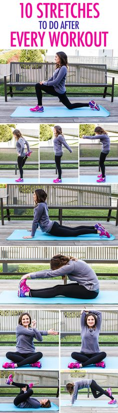 The perfect stretching routine with 10 simple stretches to do at home after an Orangetheory class or other HIIT workout.