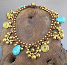 Romany Waterdrop Turquoise Cascade Anklet by PalidaArtisan
