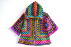 Afghan Crochet Girl Wool Hoodie Cardigan, Colorful, Baby/Toddler Girl, three-quarter sleeve
