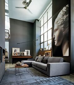 Love the blown up art and the gray simple elegance.