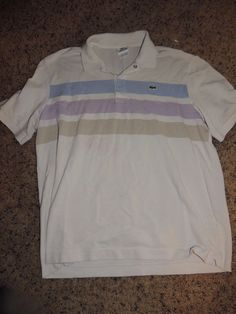 Mens Vintage LACOSTE Polo Shirt tennis country club  Alligator Logo Size 7 xl