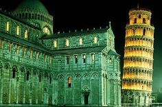 DUOMO LEANING tower of PIZA, ITALY poster OPTICAL ILLUSION architecture 24x36