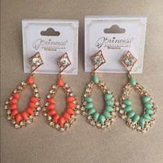 Earring Bundle This is a bundle of Princess earrings in gold with gorgeous coral & mint green colors. They have rhinestones & both are designed beautifully. Great quality. Brand new. Princess Accesories  Jewelry Earrings