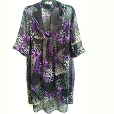 """Lane Bryant 22/24 Purple & Gray Chiffon Long Tunic This Lane Bryant 22/24 Purple & Gray Chiffon Long Tunic is in good used condition. It is semi sheer and best with a cami underneath. I think it looks great over a cami and leggings--belted for a bit more shape if you prefer. This very long top has a drapey cowl neck and is 37"""" long. Bust: 27.5"""" laying flat, measured from pit to pit, so 55"""" around. ::: Bundle 3+ items from my closet and save 30% off when you use the app's Bundle feature…"""
