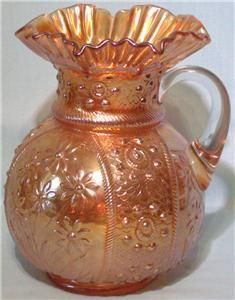 Fenton Bouquet Carnival Glass Water Set Pitcher