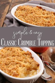 Make any crumble you fancy by just adding fruit to this easy and basic crumble topping recipe. Made with just 3 ingredients it's so simple and tastes delicious. easy 3 ingredients easy for a crowd easy healthy easy party easy quick easy simple Ic Recipes, Best Dessert Recipes, Apple Recipes, Gourmet Recipes, Sweet Recipes, Delicious Desserts, Cooking Recipes, Healthy Desserts, Dessert Ideas