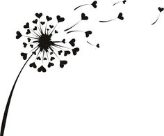 Love Heart Dandelion Flowers Wall Stickers Wall Art Decal ...