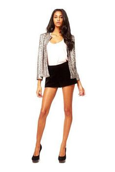 Blazer with Sequin Detail in Silver - €24.97