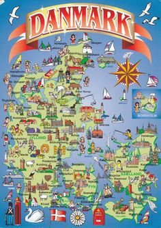 Denmark map postcard with pictures Denmark Map, Denmark Travel, Copenhagen Denmark, Finland Travel, Legoland, Helsingor, Kingdom Of Denmark, Scandinavian Countries, Voyage Europe