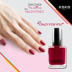 """Discover the Joy of Love this Valentines with """"Crazy for You"""" Koko Nail Polish. #KOKO #France #Love #Heart #Polish #Red #Kokonail #Kokonailpolish"""