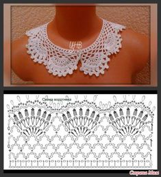Vintage Crochet Lace Collar Blessings for Crochet Collar Pattern, Col Crochet, Crochet Necklace Pattern, Crochet Lace Collar, Crochet Lace Edging, Crochet Motifs, Crochet Diagram, Thread Crochet, Crochet Scarves