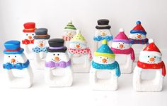 Paint your own napkin ring holders (snowman and santa). Christmas craft shape. UK wholesale supplies available