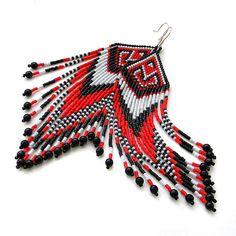 Lange rote schwarze und weiße Samen Perlen von Anabel27shop auf Etsy