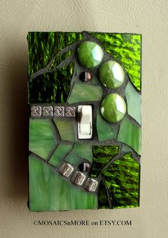 Citrus Green - Single Mosaic Light Switch Cover Wall Plate - Handmade in the USA. $16.95, via Etsy.