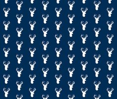 White Deer on Navy fabric by modfox on Spoonflower - custom fabric