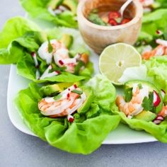 {recipe} Refreshing Vietnamese Lettuce wraps with shrimp, avocado, radish, fresh herbs and a vietnamese no-oil dressing everyone should know about, called Nouc Cham. Light and Healthy!