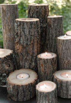 Rustic Tree Branch Candle Holder . For our patio from the trees we cut down from the yard? Maybe?