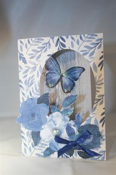 For these next two cards, I used a Paper Roses stitched oval die to cut an aperture in the front of a card base, ( it's easiest to do this with the patterned paper already attached). Butterfly Cards, Paper Roses, Aperture, Cardmaking, Indigo, Butterflies, Card Ideas, Birthdays, Bee