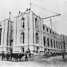 Salt Lake City Temple in construction.