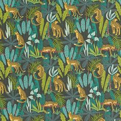 Decor Fabric Cotton Poplin Leopards in the Jungle green/yellow - Real Time - Diet, Exercise, Fitness, Finance You for Healthy articles ideas Viria, Leopards, Dream Decor, Fabric Decor, Decoration, Poplin, Cheetah, Sewing Projects, Art Prints