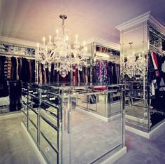 Dream Closet: white chandelier & mirrors everywhere <3 --------------------------- For tips on how to create your dream #wardrobe, visit my Blog!! www.jensetter.com/2013/10/organizing-tips.html ---------------------------