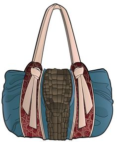 Vector-based illustration: blue handbag with light pink handles and brown buckle