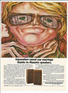 1974 Advertisement Marantz Illustration Separation Saved Marriage Stereo Speakers Music 70s Audio Sound Studio Recording Wall Art Decor