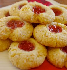 Melt-in-your-mouth shortbread with the nutty crunch of coconut and sweet tartness of jam. As pretty as they are delicious. Coconut Jam Drops, Coconut Drops Recipe, Jam Drops Recipe, Baking Recipes, Cookie Recipes, Dessert Recipes, Shortbread Recipes, Vegan Desserts, Caramel Shortbread