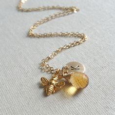 Honey Bee Necklace November Birthstone by anatoliantaledesign, $40.00