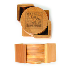 Round Wood Coasters (6) - Mon Cave Personalized with Cave Master name and Est Date