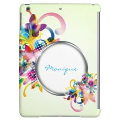 abstract floral colourful case and frame for your name - #personalized #iPad #case