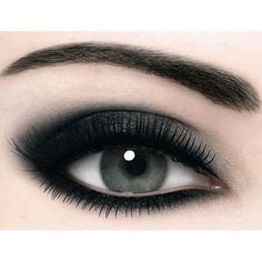 Thinly apply eyeliner all around your eye close to your lash line on the top. than underneath the waterline on your skin close to your eye as possible apply your eyeliner under all the way across touching both sides. for your eye shadow you want a dark grey black and just put it all over your Lid and over your crease.  use a maxifying eyeliner of your choice and apply several times as needed.