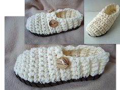 Crochet Clogs Slippers With or Without Rubber Soles by Hectanooga, $3.99